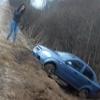 Под Лихославлем девушка на иномарке чуть не сбила лося и вылетела в кювет (фото)
