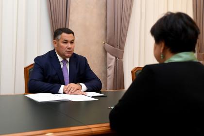 Игорь Руденя и глава Лихославльского района Наталья Виноградова